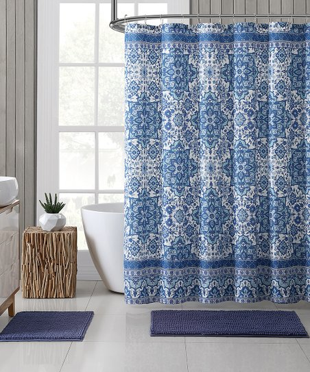 Blue Adina Embossed 15 Piece Shower Curtain Noodle Rug Set