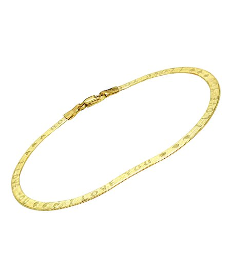 14k Gold I Love You Reversible Herringbone Bracelet