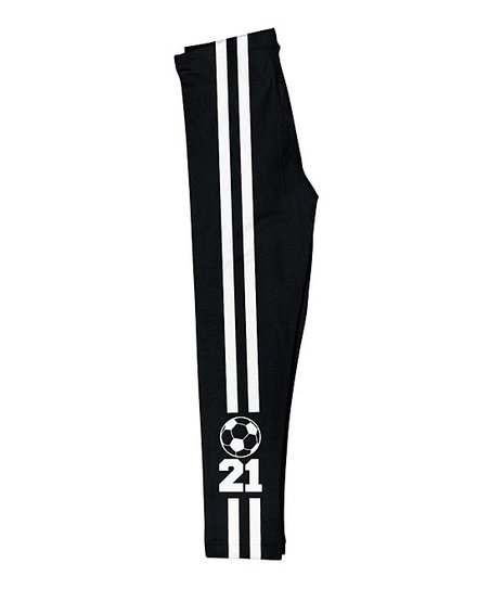 Mondays Child Black Stripe Soccer Ball Personalized Leggings
