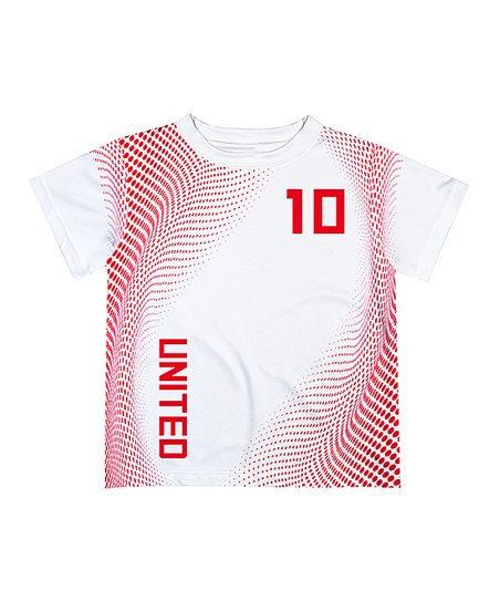 san francisco b2780 a1d5a Monday's Child White & Red 'United' Personalized Soccer Jersey - Infant,  Toddler & Boys