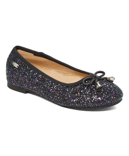 41eb2289f8c bebe girls Black Glitter Bow-Accent Ballet Flat - Girls