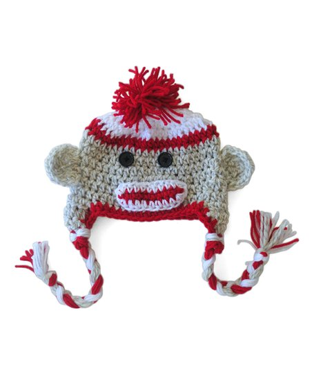Maddie's Mad Hatters Brown & Red Sock Monkey Beanie - Toddler