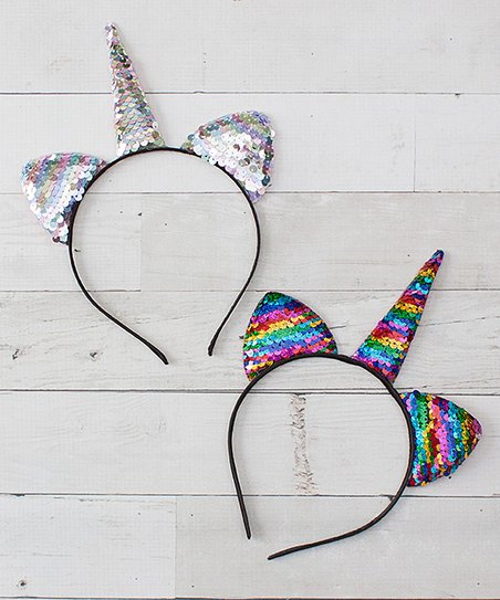 Dress Up Dreams Boutique Silver   Rainbow Sequin Unicorn Headband ... a8cb32be7bd