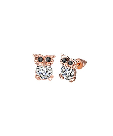 6d730339c Black & 18k Gold-Plated Owl Stud Earrings With Swarovski® Crystals