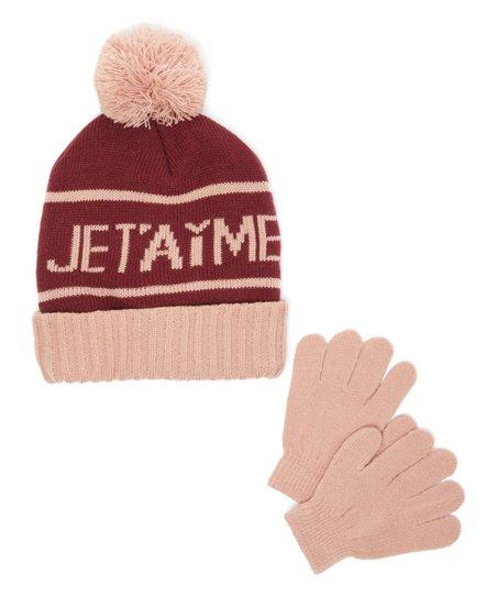 d66686d9b BCBGIRLS Maroon & Rose 'Je T'aime' Pom-Pom Beanie & Gloves