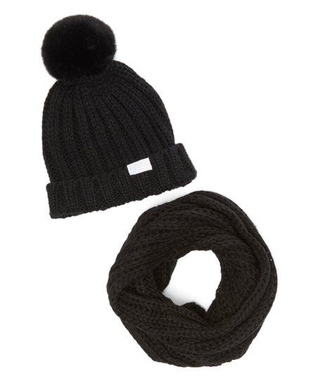 368e371d30f BCBGIRLS Black Chunky-Knit Beanie   Infinity Scarf