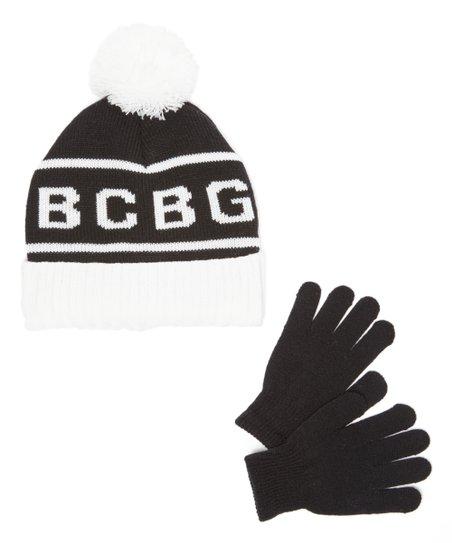 b959d737f BCBGIRLS Black & White 'BCBG' Pom-Pom Beanie & Gloves