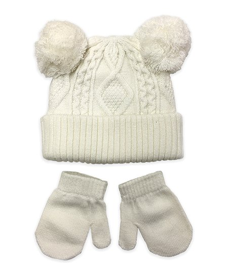47ec455d543 love this product Ivory Cable-Knit Double Pom-Pom Hat   Mittens - Newborn