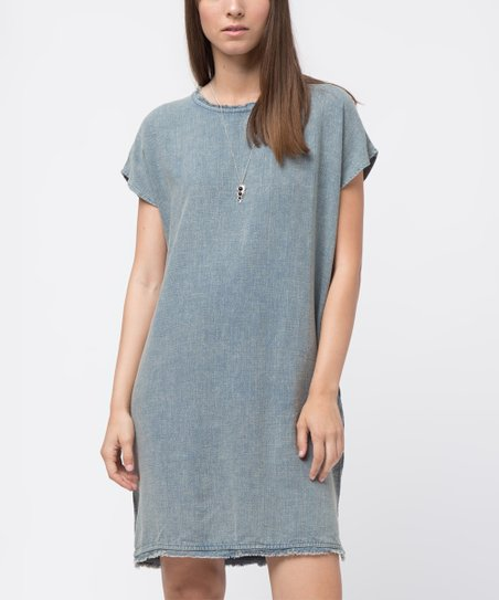 7d2ab6ef87a love this product Teal Linen-Blend Raw-Edge T-Shirt Dress - Women