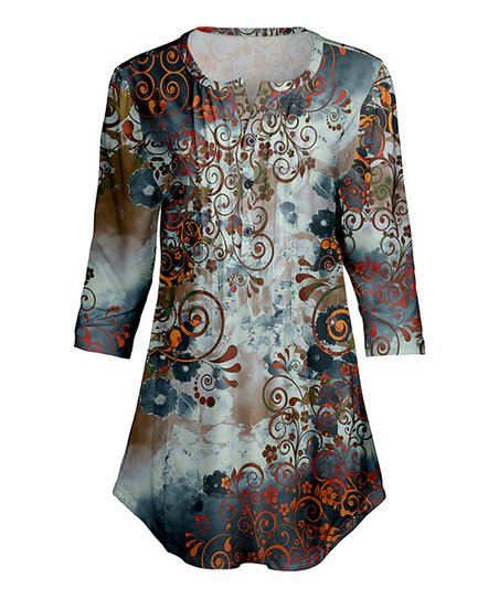 c2afcd12796 love this product Navy   Olive Watercolor Floral Scroll Pleated Notch Neck  Tunic - Plus