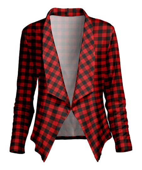 42f041a641 love this product Red   Black Buffalo Check Lapel-Collar Open Cardigan -  Plus