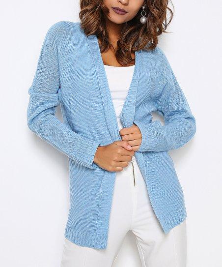 abcddc864 HOPOI Baby Blue Open Wool-Blend Cardigan - Women