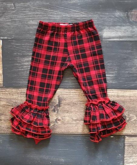 e865bc98187e8 Ava Grace Boutique Red Buffalo Plaid Triple Ruffle Leggings - Girls ...