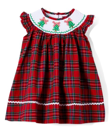 aede14166c70 love this product Red & Green Plaid Christmas Tree Smocked Angel-Sleeve  Dress - Infant