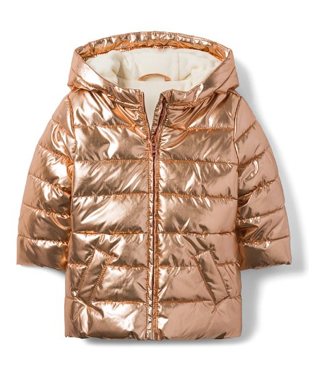 c77269e51 love this product Rose Gold Metallic Puffer Jacket - Toddler