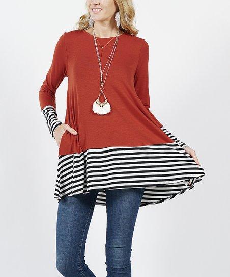 7efafe3acca 42POPS Fired Brick Stripe Color Block Side-Pocket Tunic - Women | Zulily