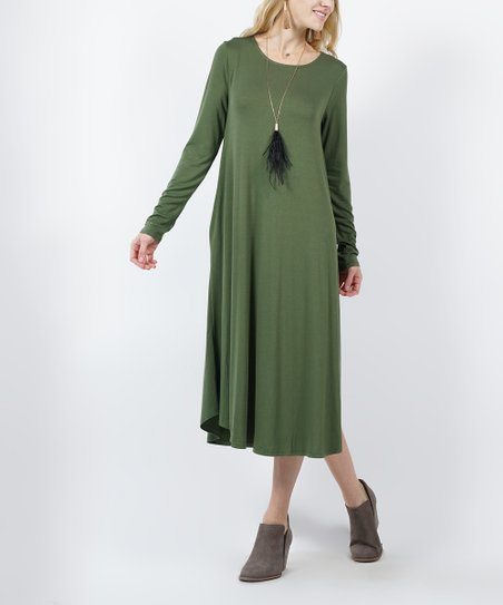 73042d6f29f9 love this product Army Green Side-Pocket Long-Sleeve Midi Dress - Women