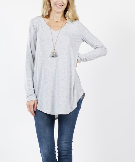 cc82f9d195c Heather Gray V-Neck Long-Sleeve Curved-Hem Tunic - Women
