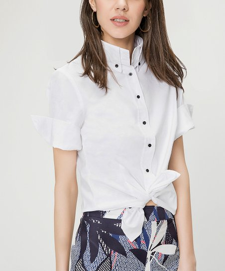 e9155ab3 Just Like You White Tie-Front Button-Up Top - Plus | Zulily