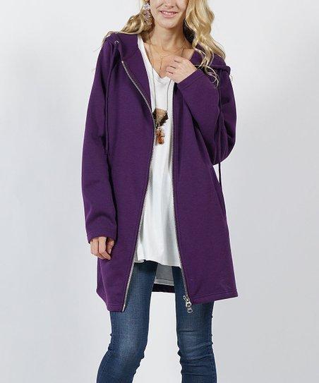 love this product Dark Purple Fleece Longline Zip-Up Hoodie - Women 2b5eeef52
