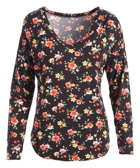 74d7413cb0b Cool Melon Black & Coral Floral V-Neck Tunic - Women | Zulily