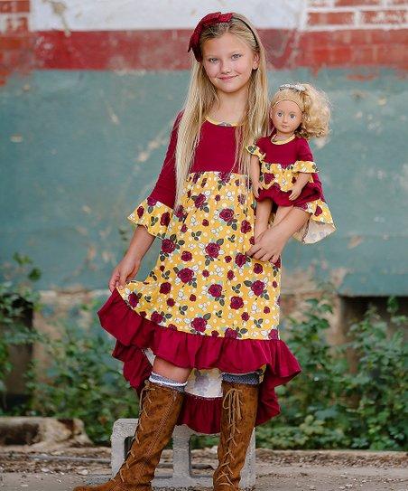 782f2bc93 love this product Mustard & Burgundy Roses Kara Peasant Dress & 18'' Doll  Dress - Girls