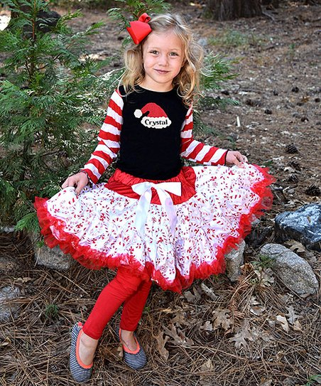 Black   White   Red Personalized Santa Hat Petticoat Set - Toddler ... 560bb5cc1f3