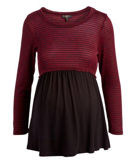 d44477c5e0db9 love this product Wine & Black Stripe Color Block Maternity Swing Sweater