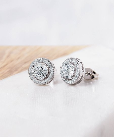 Golden Moon Silver Plated Halo Stud Earrings With Swarovski Crystals