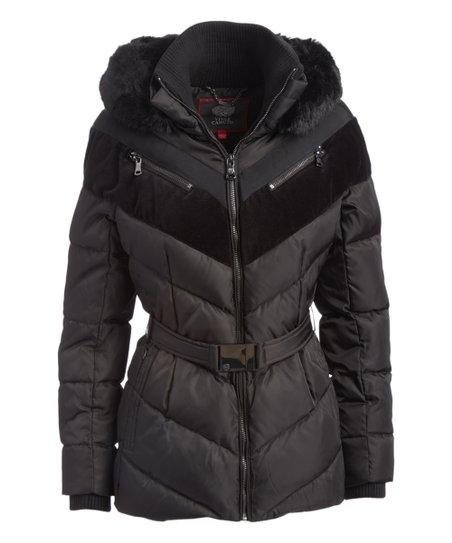 14db7a383 Black Chevron Hooded Puffer Jacket - Women