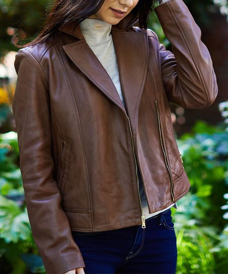 Cole Haan Hickory Asymmetrical Zip Leather Jacket Women Zulily