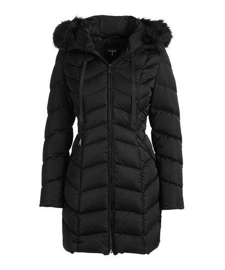 T Tahari Black Quinn Chevron Quilted Puffer Coat - Women  5a318ee55c