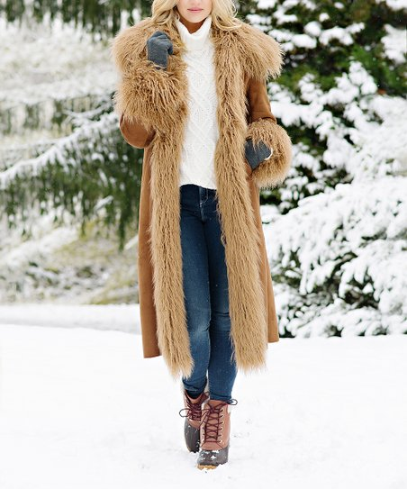 41f95c9eeaa love this product Tobacco Collar Faux Suede Full-Length Coat - Women   Plus