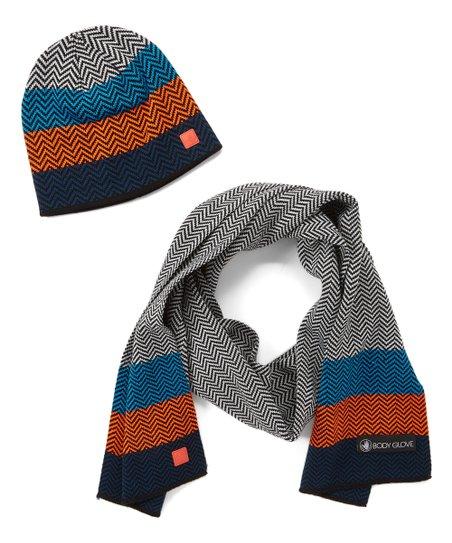 92e702404eb love this product Orange Whip   Gray Chevron Color Block Hat   Scarf Set -  Men