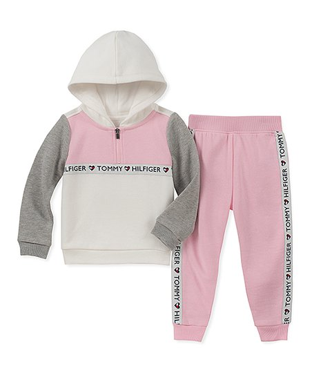bc708ee63 Tommy Hilfiger Pink & Gray Hoodie & Joggers Set - Girls | Zulily