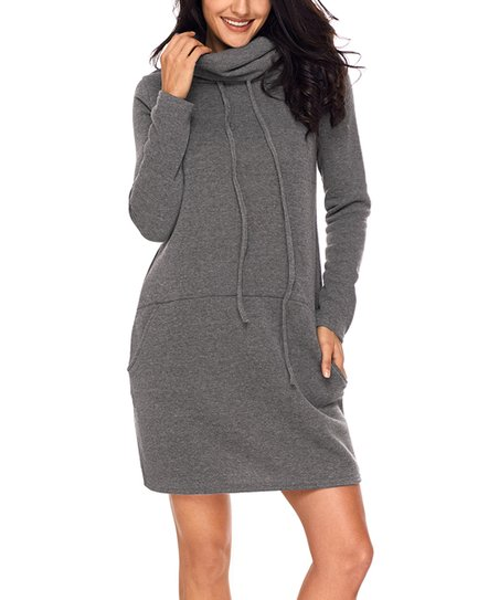 49d7513ff12 Zesica Gray Drawstring Cowl Neck Sweatshirt Dress - Women