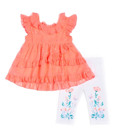 a75a78bca0f4c7 love this product Coral Sparkle Babydoll Top & White Floral Capri Leggings  - Infant, Toddler & Girls