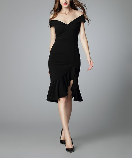 31f62eab8b7cb Knitee Black Ruffle Split-Hem Off-Shoulder Sweetheart Dress - Women ...