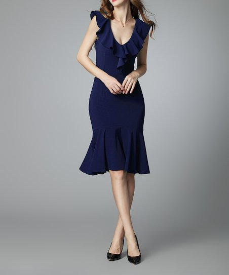 love this product Navy Blue Ruffle-Trim V-Neck Dress - Women 472249adb