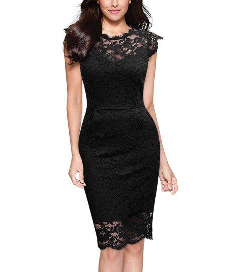 Knitee Black Lace Cap Sleeve Bodycon Dress Zulily