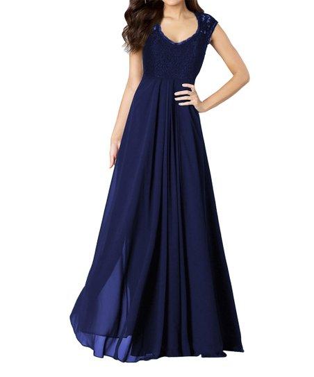 5b2f5b1d687a17 love this product Navy Blue Lace V-Neck Sleeveless Maxi Dress - Women