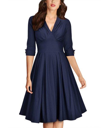 fdff4a63ac0 Knitee Navy Blue V Neck Three Quarter Sleeve Dress Women Zulily. Khaki Mesh  Accent Three Quarter Sleeve A Line Dress 022607 Casual Dresses ...