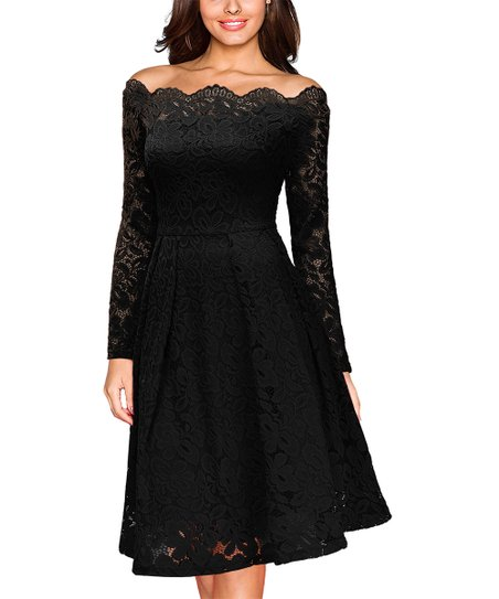 75d11f42082 love this product Black Lace Off-Shoulder Long-Sleeve Fit   Flare Dress -  Women
