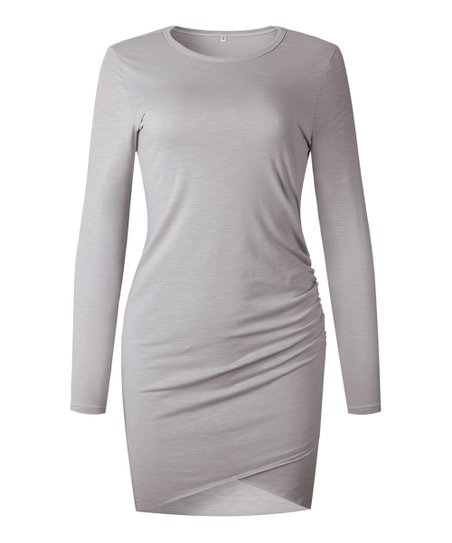 4ee9fb31344f love this product Gray Long-Sleeve Fitted T-Shirt Dress - Women