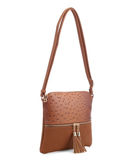 c992e45ffb Alyssa Light Brown Tassel Textured Crossbody Bag