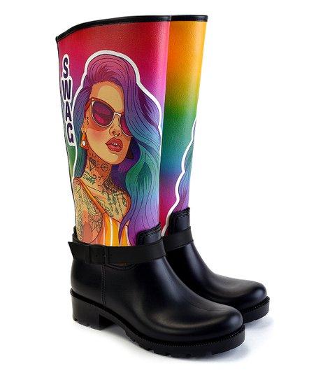 WALKRAIN Pink, Purple \u0026 Black \u0027Swag\u0027 Tattoo Girl Rain Boot , Women