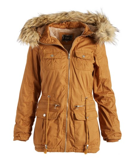 2ed1ec8a38b love this product Camel Button-Pocket Faux Fur-Trim Anorak - Women