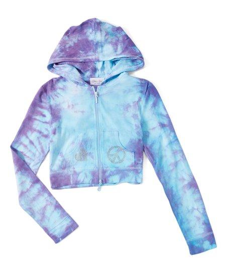 ee451bf4c0d love this product Turquoise   Purple Tie-Dye Rhinestone Peace   Love Crop  Zip-Up Hoodie - Girls