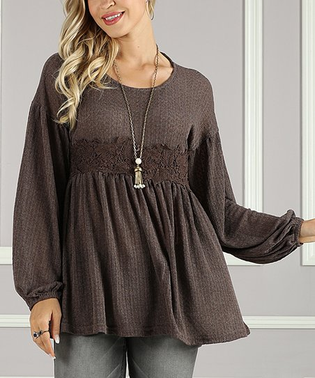 love this product Brown Lace Tunic - Women   Plus e72ec04a7
