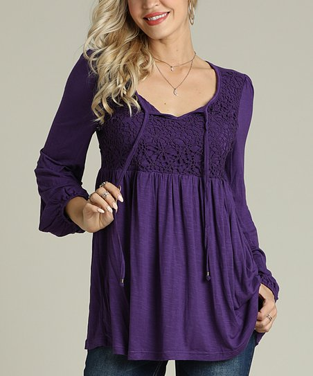 40aa105f1f9 Suzanne Betro Eggplant Lace Empire-Waist Tunic - Women